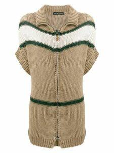 Fabiana Filippi striped short-sleeved cardi-coat - Brown