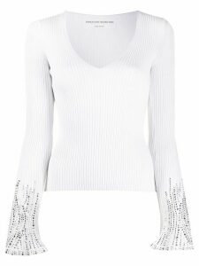 Ermanno Scervino ribbed rhinestone jumper - White