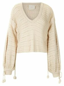 Framed Bonlier knitted crop top - NEUTRALS