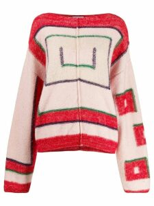Closed oversized geometric-pattern jumper - PINK