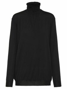 Prada smocking embroidered jumper - Black