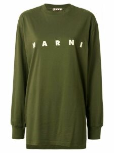 Marni printed logo asymmetric T-shirt - Green
