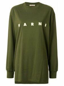 Marni printed logo asymmetric T-shirt - Green
