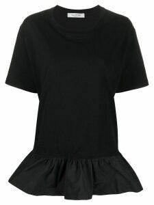 Valentino ruffled-detail T-shirt - Black