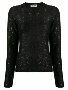 Saint Laurent sequin loose knit jumper - Black