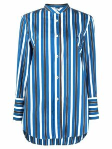 Aspesi striped mandarin collar shirt - Blue