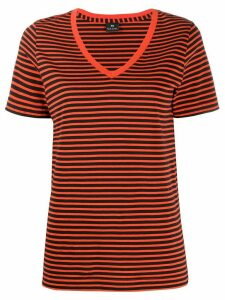 PS Paul Smith striped V-neck T-shirt - ORANGE