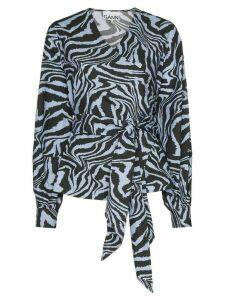 GANNI tiger print tie-waist blouse - Blue