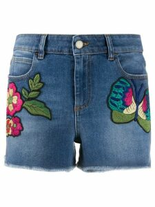 RedValentino floral-embroidered denim shorts - Blue
