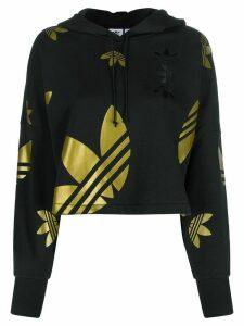 adidas logo cropped hoodie - Black