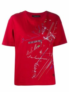 Mr & Mrs Italy graphic print studded detail T-shirt - Red