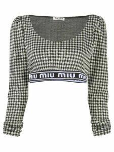 Miu Miu gingham cropped top - Black