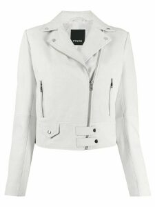 Pinko leather biker jacket - White