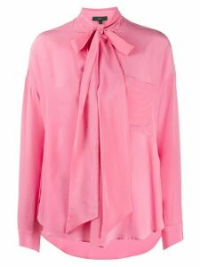 Jejia tie neck long sleeve silk blouse - PINK