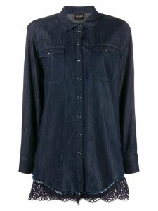 Twin-Set scallop-trimmed denim shirt - Blue