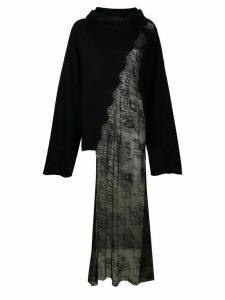 Seen Users asymmetric lace detail hoodie - Black