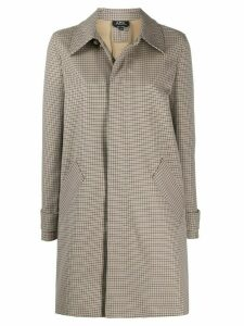 A.P.C. concealed button down checked coat - NEUTRALS