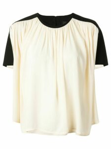 Proenza Schouler contrast panel draped blouse - Black