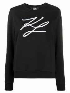 Karl Lagerfeld signature embroidery cotton sweatshirt - Black