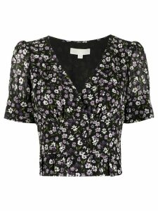 Michael Michael Kors floral-print cropped blouse - Black