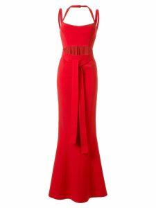 Rachel Gilbert Frankie fishtail hem gown - Red