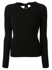 Mm6 Maison Margiela ribbed knit tie-back jumper - Black