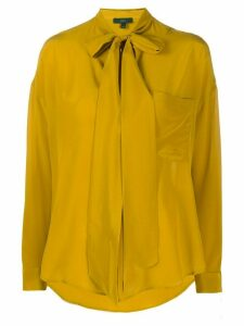 Jejia tie neck long sleeve silk blouse - Yellow