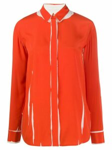 Paul Smith printed crepe de chine shirt - ORANGE
