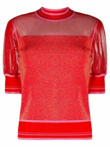 Pinko lurex panelled puff-sleeve top - Red