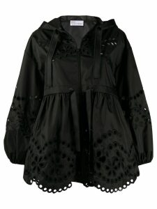 RedValentino broderie anglaise hooded jacket - Black