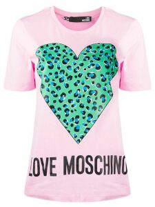 Love Moschino heart-print T-shirt - PINK