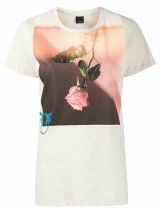 Pinko rose print T-shirt - NEUTRALS