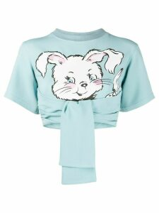 Moschino rabbit cropped T-shirt - Blue