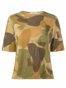YMC camouflage-print cotton T-shirt - Brown