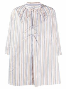 Aspesi striped front-tie cotton shirt - White