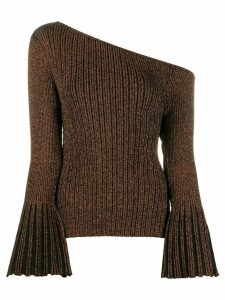 Self-Portrait metallic one-shoulder jumper - Brown