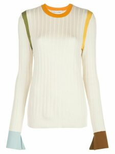 Oscar de la Renta colour block knitted jumper - White