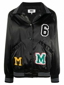 Mm6 Maison Margiela logo patches bomber jacket - Black