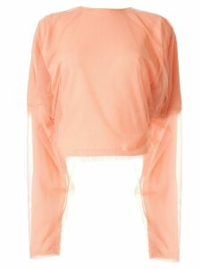 Y/Project mesh-panelled jersey top - PINK