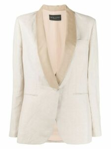 Fabiana Filippi contrasting lapel single-breasted blazer - NEUTRALS