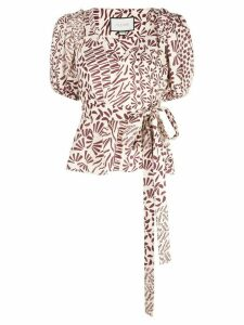 Alexis Warri abstract-print top - Brown