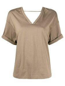 Brunello Cucinelli boxy V-neck T-shirt - Brown