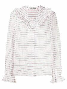 Jourden Lolita striped ruffled blouse - White