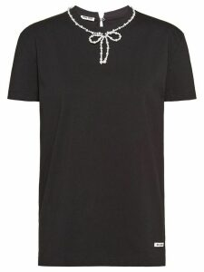 Miu Miu pearl-embellished bow T-shirt - Black
