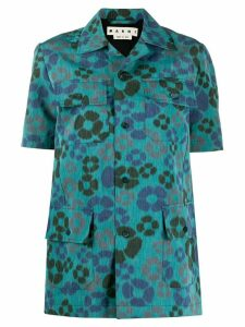 Marni floral print four pocket shirt - Blue