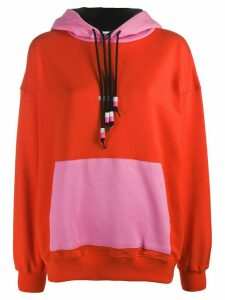 MSGM oversized colour-block hoodie - ORANGE