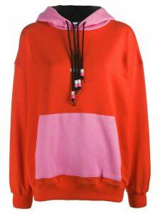 MSGM oversized colour-block hoodie - ORANGE