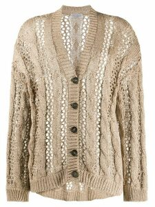 Brunello Cucinelli slouchy open knit cardigan - Brown
