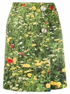 Christopher Kane London Fields satin-finish wrap skirt - Green