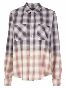 AMIRI long sleeve raw edge checked shirt - PURPLE